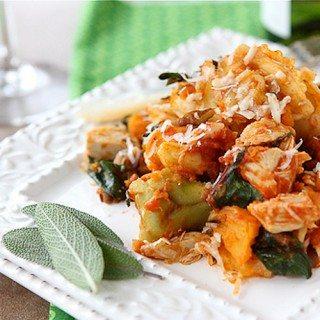 Baked Tortellini with Turkey, Butternut Squash & Chard Recipe
