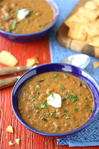 Hearty Lentil & Black Bean Soup with Smoked Paprika Recipe | cookincanuck.com #vegetarian #soup