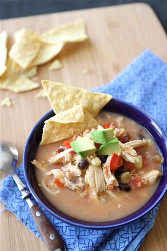 Crockpot Chicken Tortilla Soup Recipe with Black Beans & Corn | cookincanuck.com #soup #slowcooker #crockpot