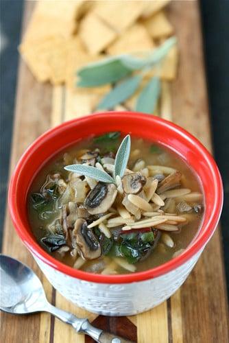 Healthy Mushroom & Swiss Chard Soup Recipe {Vegetarian}
