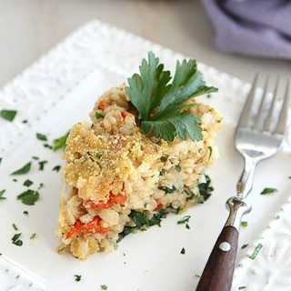 Savory Rice & Cheese Cake Recipe with Spinach & Roasted Red Peppers {Vegetarian}