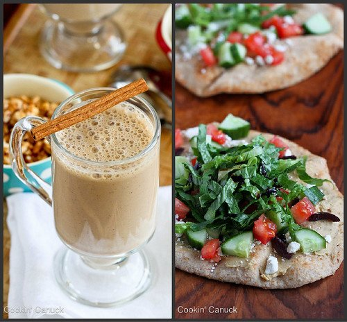 Coffee Smoothie & Greek Hummus Naan   cookincanuck.com