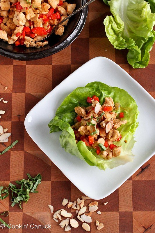 Almond & Basil Chicken Lettuce Wraps Recipe | cookincanuck.com #chicken #recipe