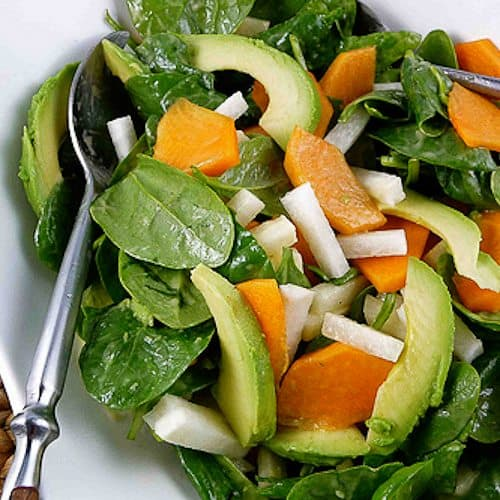 Spinach Salad with Fuyu Persimmon, Jicama & Avocado with Miso Dressing Recipe