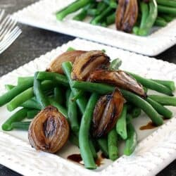 Green Beans with Balsamic Roasted Shallots Recipe | cookincanuck.com