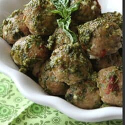 Baked Caprese Turkey Meatball Recipe with Sun-Dried Tomatoes, Mozzarella & Basil Pesto | cookincanuck.com