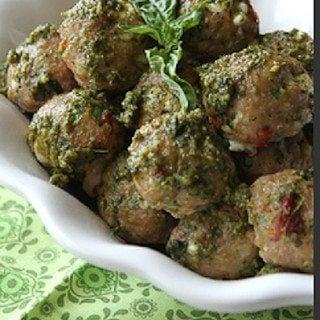 Baked Caprese Turkey Meatball Recipe with Sun-Dried Tomatoes, Mozzarella & Basil Pesto