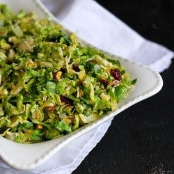 Shredded Brussels Sprouts Recipe with Pistachios, Cranberries & Parmesan | cookincanuck.com