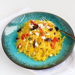 Mediterranean Spaghetti Squash Recipe with Feta Cheese & Roasted Peppers | cookincanuck.com