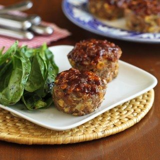Mini Muffin Tin Meatloaf Recipe with Barbecue Sauce & Corn