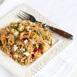 Whole Wheat Orzo with Grilled Pears & Humboldt Fog Cheese Recipe | cookincanuck.com
