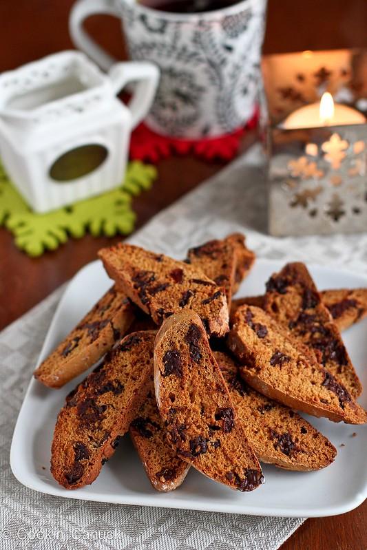Whole Wheat Biscotti Recipe with Dark Chocolate & Cherries | cookincanuck.com #cookies #biscotti