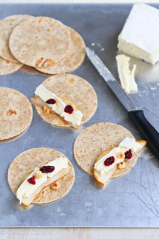 Mini Brie & Pear Appetizer Quesadillas Recipe | cookincanuck.com #recipe #appetizer