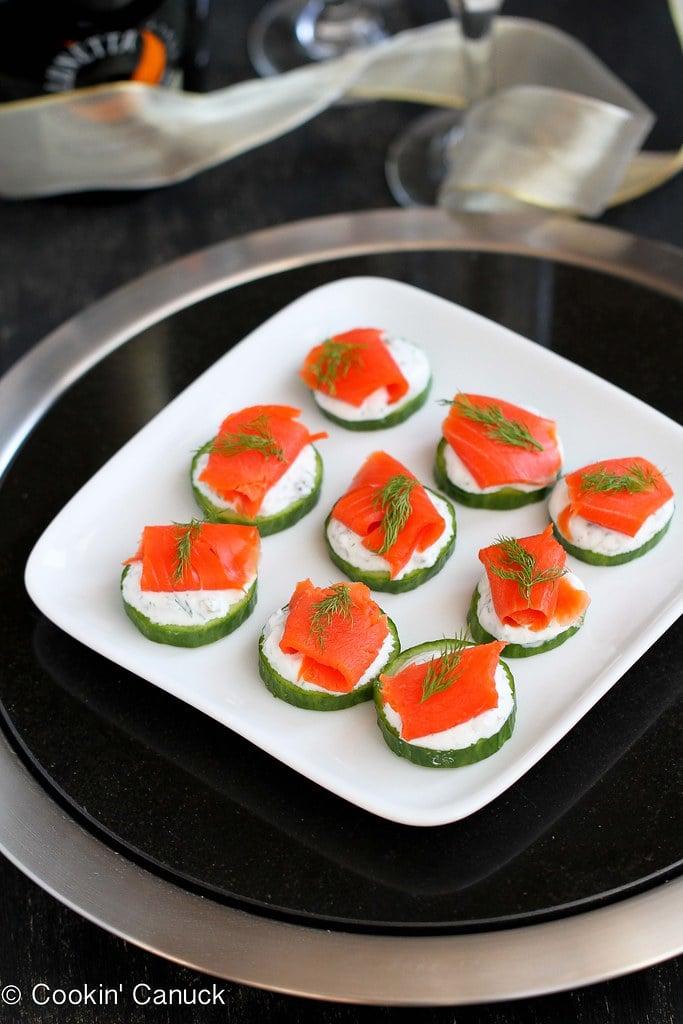 Smoked Salmon Cucumber Appetizer Recipe W Caper Yogurt Cookin Canuck