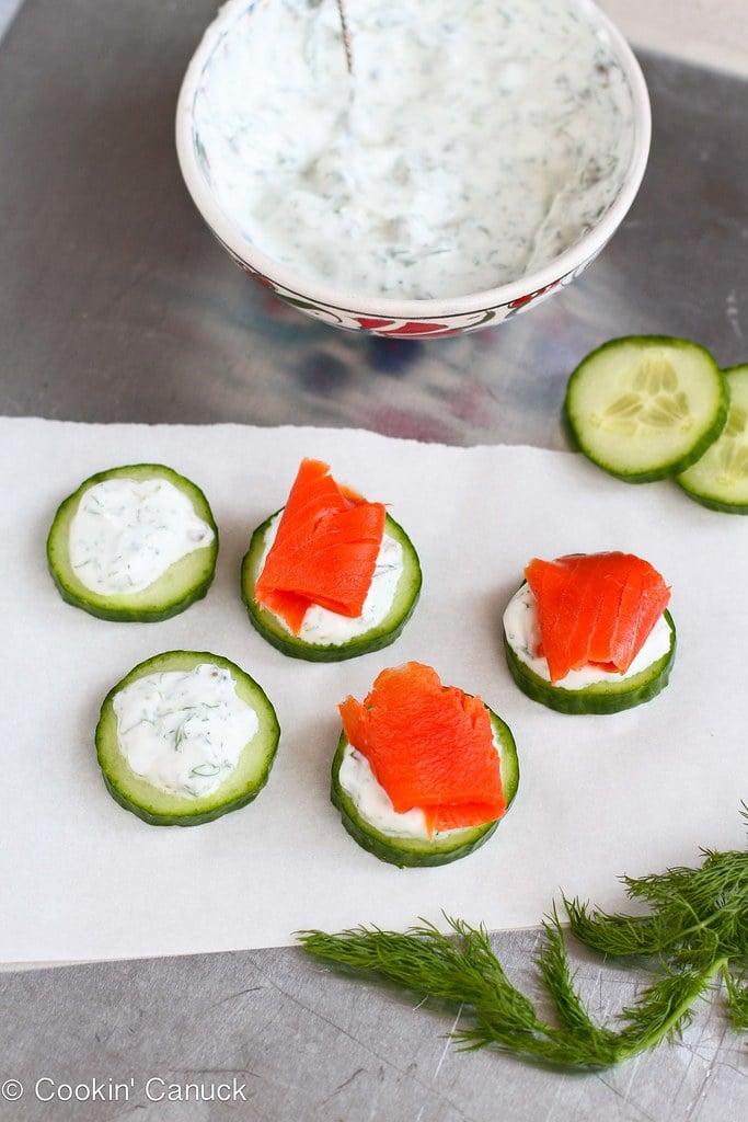 Smoked & Cucumber Appetizer Recipe with Caper Yogurt | cookincanuck.com #recipe #appetizer