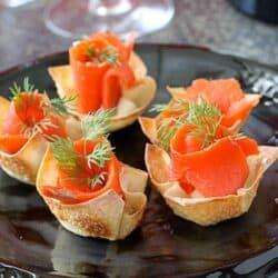 Smoked Salmon & Horseradish Mascarpone in Wonton Cups Recipe