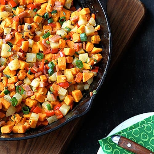 Sweet Potato Hash with Canadian Bacon, Red Pepper & Sage