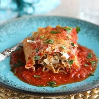 Leftover Turkey (or Chicken) Lasagna Roll Recipe with Sun-Dried Tomatoes & Spinach {Low Fat}