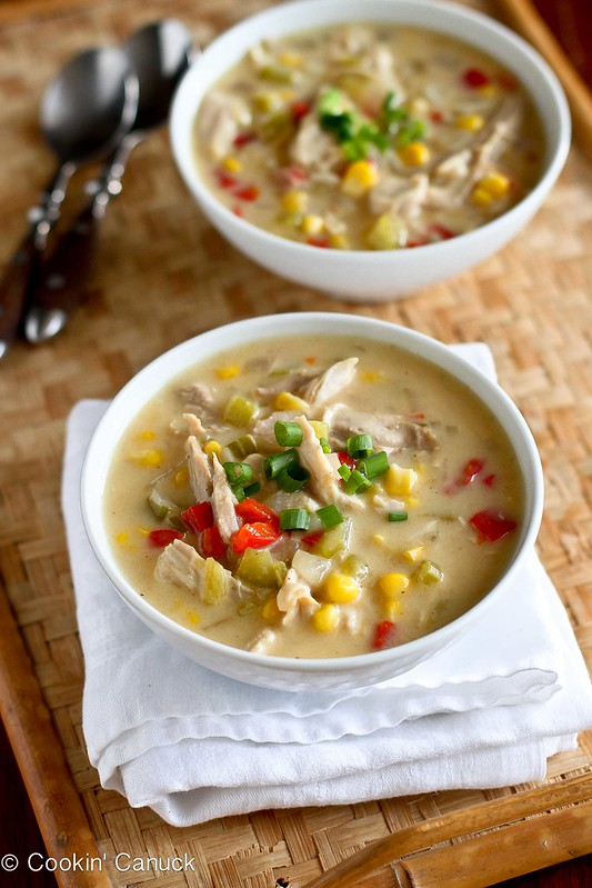 Light Turkey (or Chicken) & Corn Chowder Recipe | cookincanuck.com #lowfat #soup #leftovers