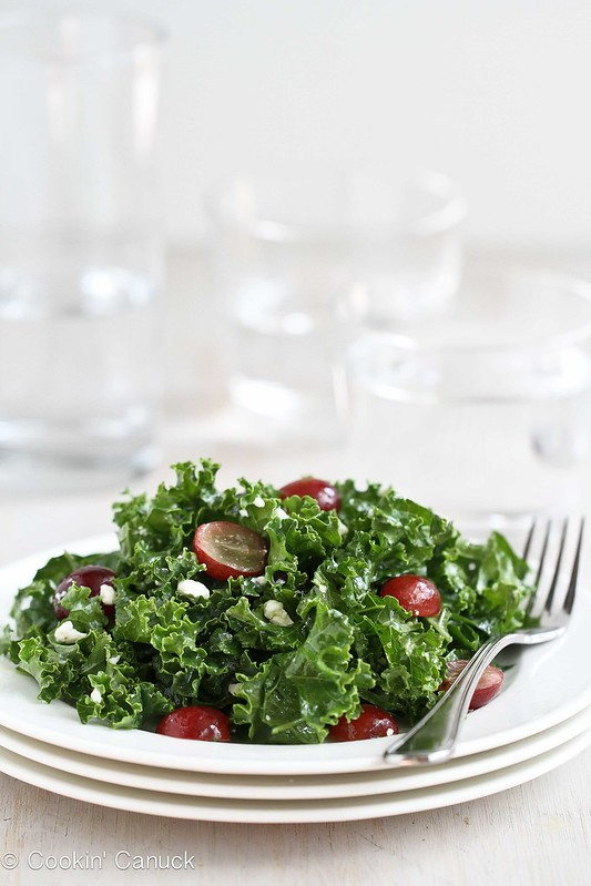 Chopped Kale Salad Recipe with Grapes & Feta Cheese | cookincanuck.com #recipe #salad #vegetarian