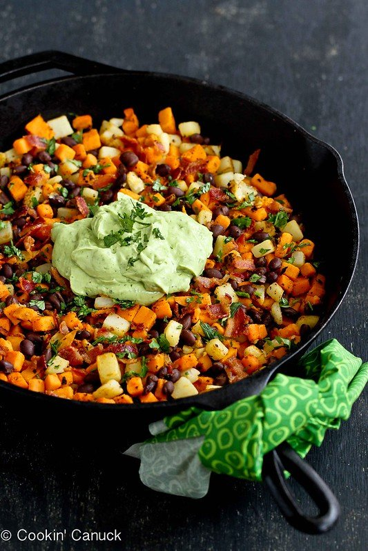 Sweet Potato Hash Recipe with Creamy California Avocado Sauce | cookincanuck.com #sweetpotato #avocado #breakfast