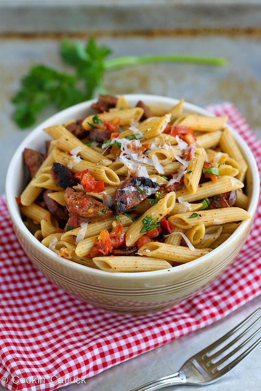 Roasted Tomato & Chicken Sausage Whole Wheat Pasta Recipe | cookincanuck.com #pasta