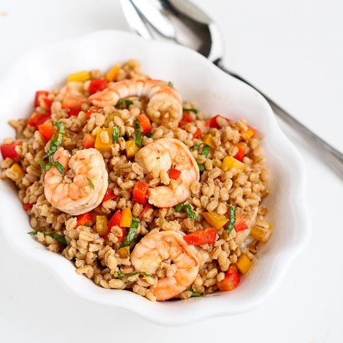 Toasted Barley & Shrimp Salad Recipe | Cookin' Canuck