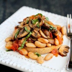 Mushroom, Tomato & Basil Ragout Recipe on English Muffin