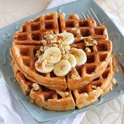 Whole Wheat Waffles Recipe with Banana & Walnuts   cookincanuck.com