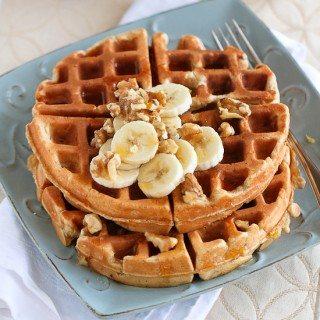 Whole Wheat Waffles Recipe with Banana & Walnuts