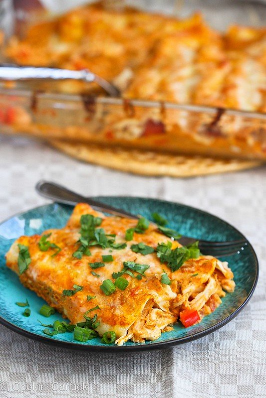 Pumpkin & Chicken Enchiladas Recipe | cookincanuck.com #chicken #enchiladas