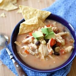 Crockpot Chicken Tortilla Soup Recipe with Black Beans & Corn (Slow Cooker) | cookincanuck.com