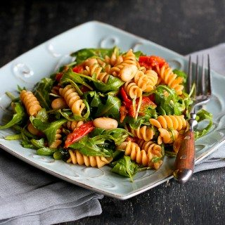Arugula Salad with Roasted Tomatoes & Pasta Recipe {Vegan}