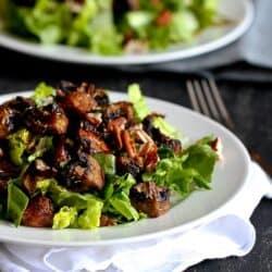 Roasted Mushroom & Romaine Salad Recipe {Vegan}
