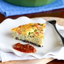 Skinny Southwestern Crustless Quiche Recipe {Vegetarian} | cookincanuck.com