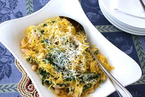 Spaghetti Squash Recipe with Spinach, Feta & Basil White Beans | cookincanuck.com #vegetarian #MeatlessMonday
