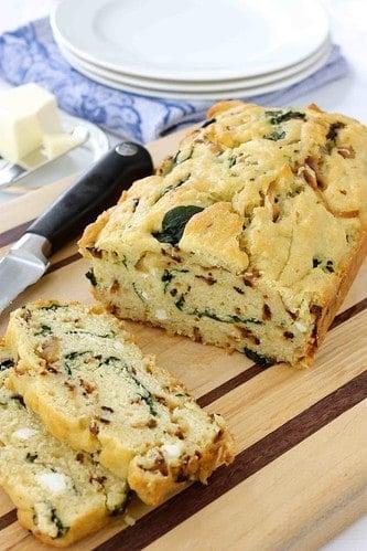 Caramelized Onion & Spinach Olive Oil Quick Bread Recipe | cookincanuck.com