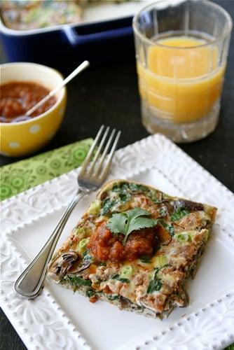 Baked Egg Breakfast Casserole with Mushrooms, Spinach & Salsa Recipe | cookincanuck.com #vegetarian #MeatlessMonday