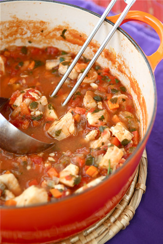 Fisherman's Soup Recipe with Tilapia, Shrimp, Tomatoes & Capers | cookincanuck.com #soup
