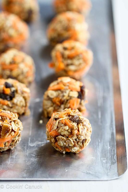 No-Bake Carrot Cake Granola Bites Recipe {Low Sugar} | cookincanuck.com #recipe #snack #healthy