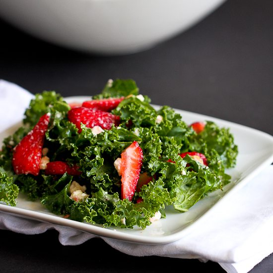 Strawberry & Kale Salad Recipe with Feta Cheese
