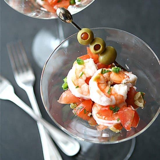 Shrimp Martini Appetizer Recipe with Tomato, Olives & Jalapeno Pepper