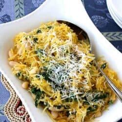 Spaghetti Squash Recipe with Spinach, Feta & Basil White Beans | cookincanuck.com