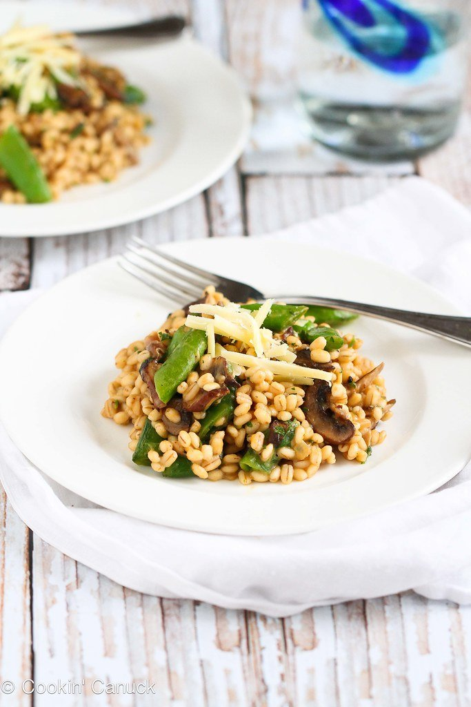 Quick Vegetarian Barley Risotto Recipe...A fantastic meal for Meatless Monday! 287 calories and 7 Weight Watchers PP