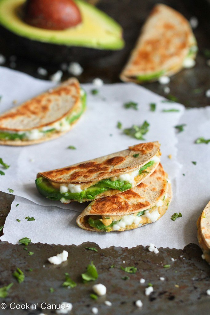 Mini Avocado and Hummus Quesadilla Recipe {Healthy Snack} | cookincanuck.com #snack #vegetarian