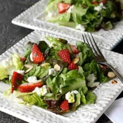 Strawberry & Goat Cheese Green Salad with Basil Vinaigrette Recipe | cookincanuck.com