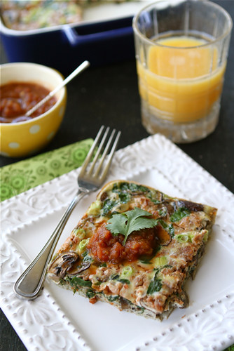 Baked Egg Breakfast Casserole with Mushrooms, Spinach & Salsa Recipe | cookincanuck.com #vegetarian #MeatlessMonday
