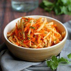 Jicama & Carrot Slaw Recipe with Honey-Lime Dressing | cookincanuck.com