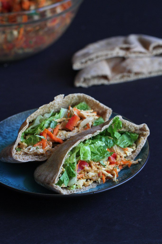 Thai Chicken Pita Sandwich Recipe with Peanut Sauce | cookincanuck.com
