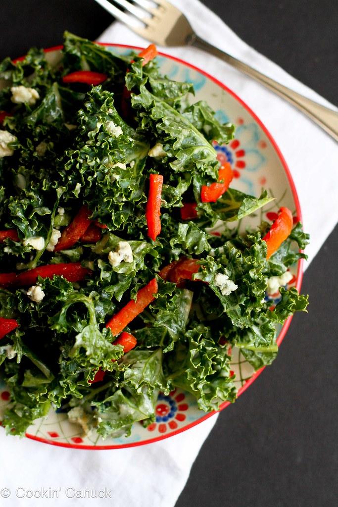 Chopped Kale Salad Recipe with Gorgonzola and Dijon Yogurt Dressing...128 calories and 4 Weight Watchers PP